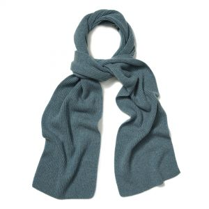 Plain Cashmere Ribbed Scarf in Blue Lovat