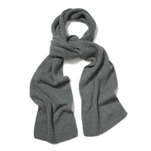 Plain Cashmere Ribbed Scarf in Flannel
