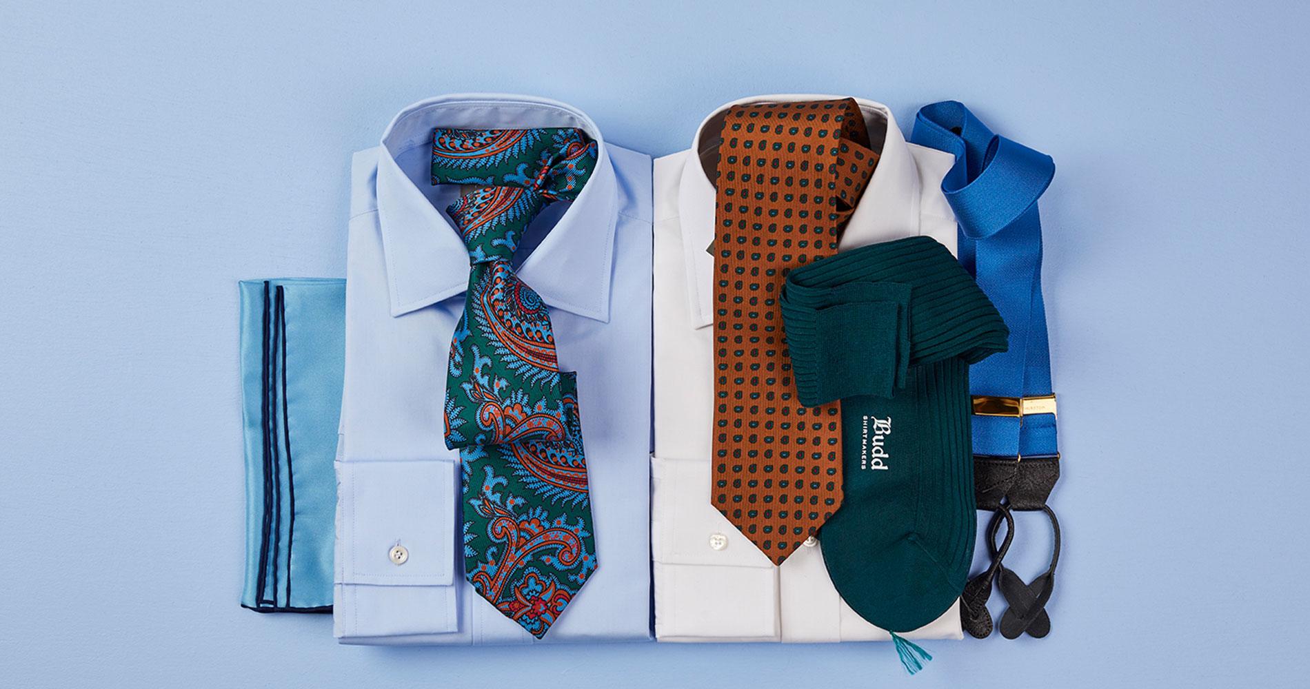 Budd Cotton Poplin Shirt with Silk pocket squares, ties and braces