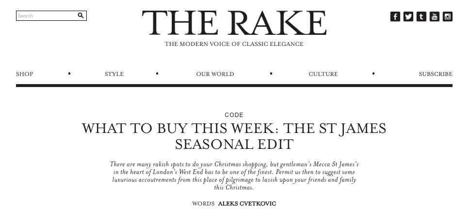 The Rake Online: The St James Seasonal Edit