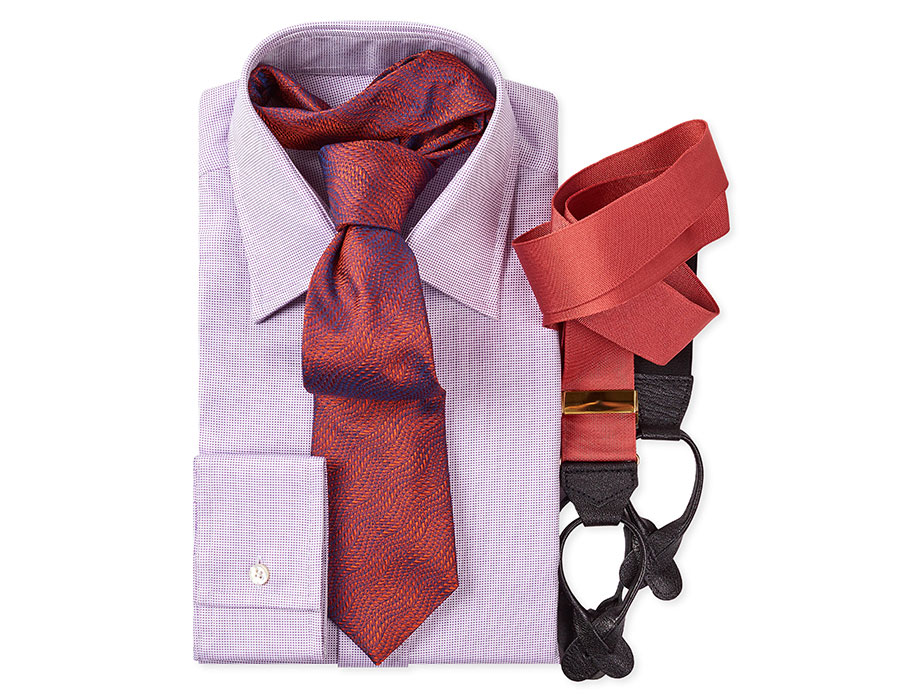 Budd Panama Basketweave Cotton Shirt with Woven Silk Tie and Silk Braces Suspenders
