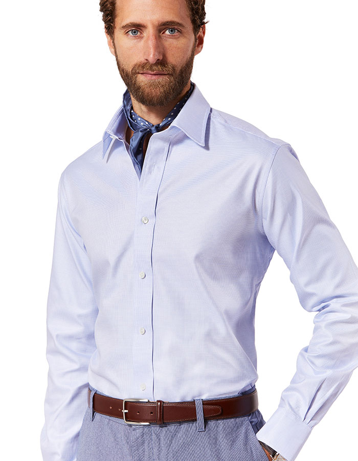 Tailored Fit Plain Panama Button Cuff Shirt in Sky Blue