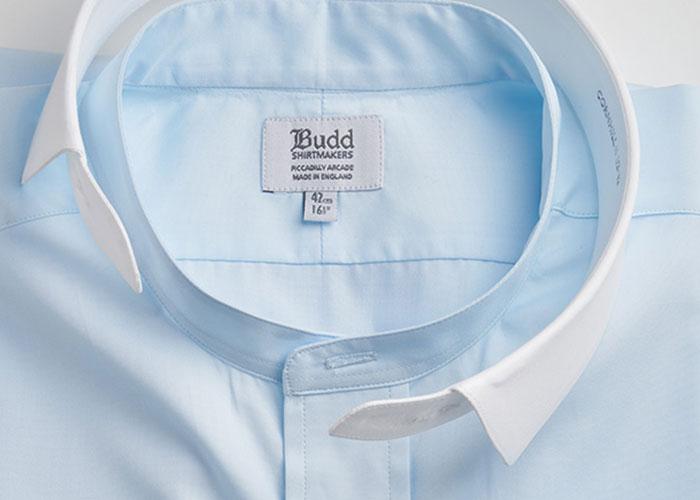 Classic Fit Plain Neckband Poplin Double Cuff Shirt in Sky Blue