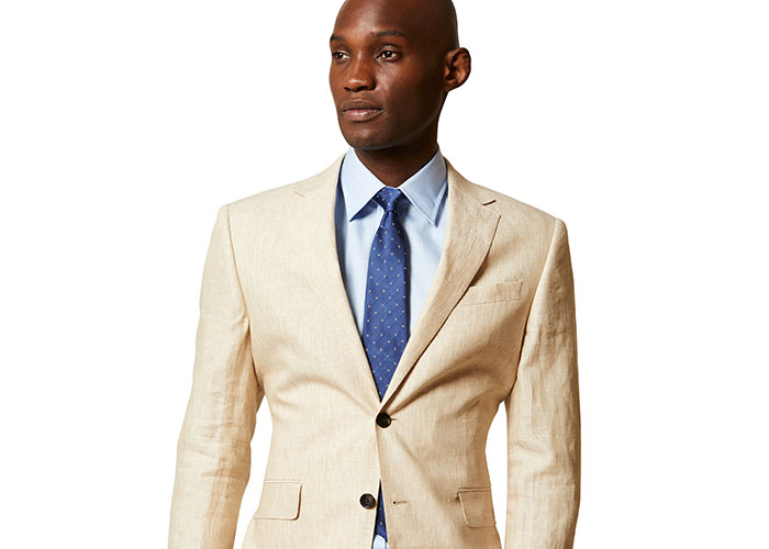 Medium Spot Silk Tie in Blue and White