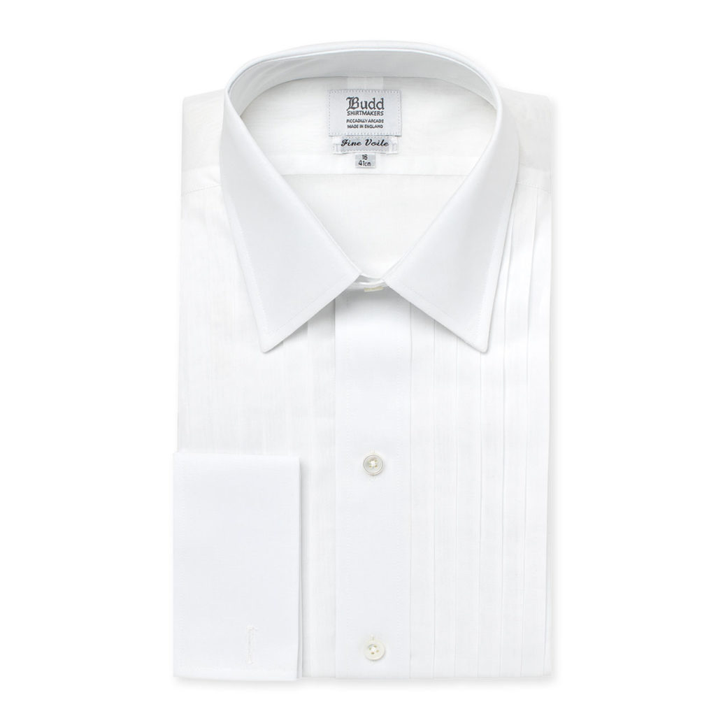 White Voile Hand Pleated Dress Shirt