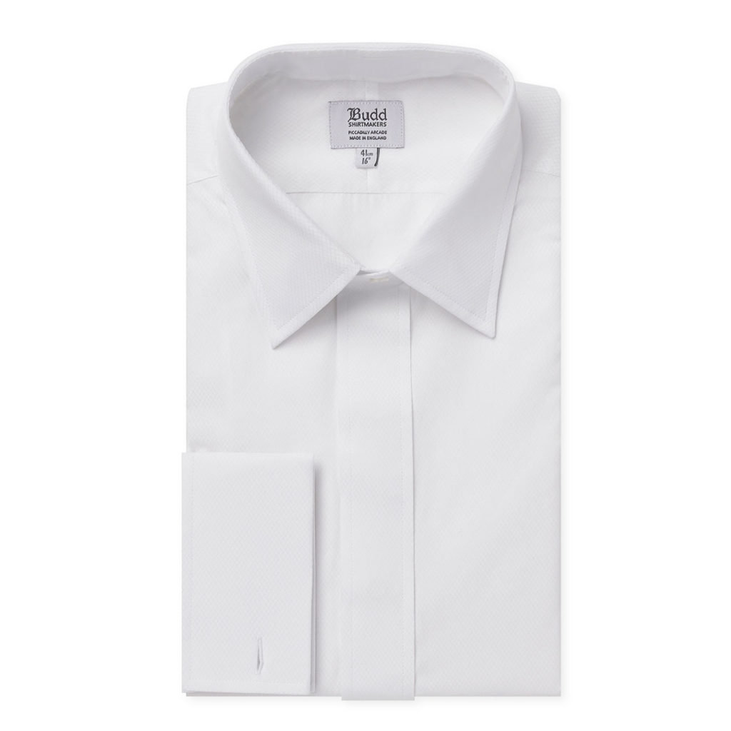 White Fly Front Dress Shirt