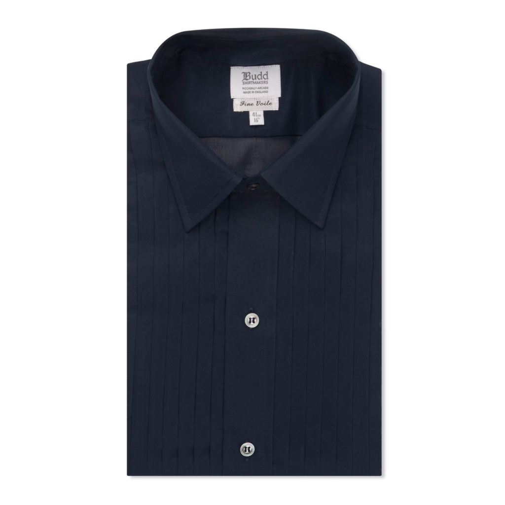 Navy Hand Pleated Voile Dress Shirt