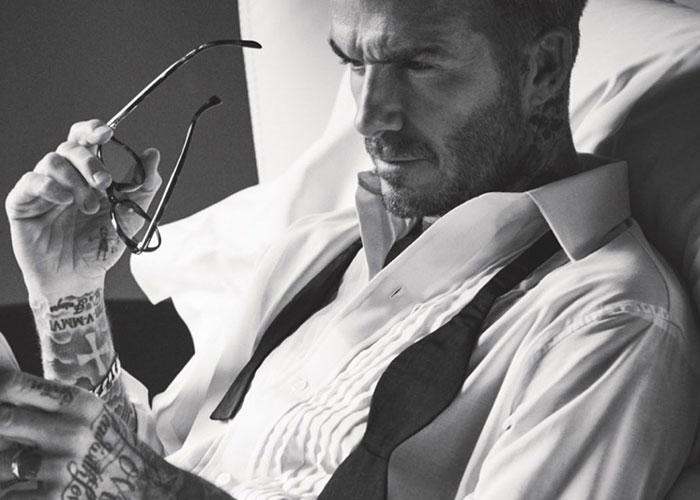 David Beckham Wearing Budd pleated dress shirt, silk braces and silk bow tie
