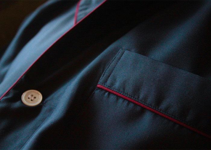 Detail of Budd Navy Silk Pyjamas