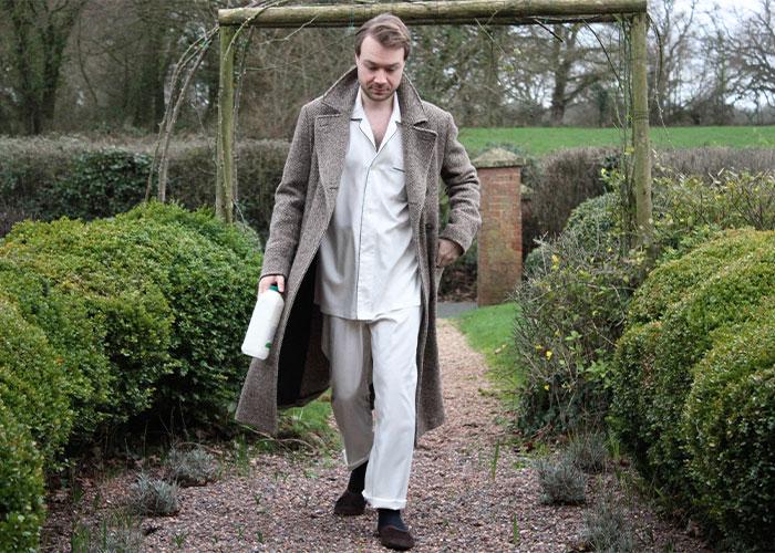 Aleks Cvetkovic Wearing Budd Cream Silk Pyjamas