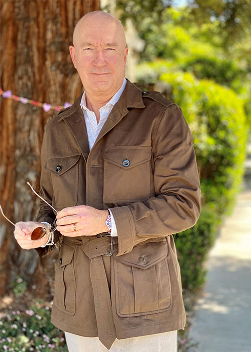 Andrew Poupart, aka Style After 50 wearing a Safari jacket