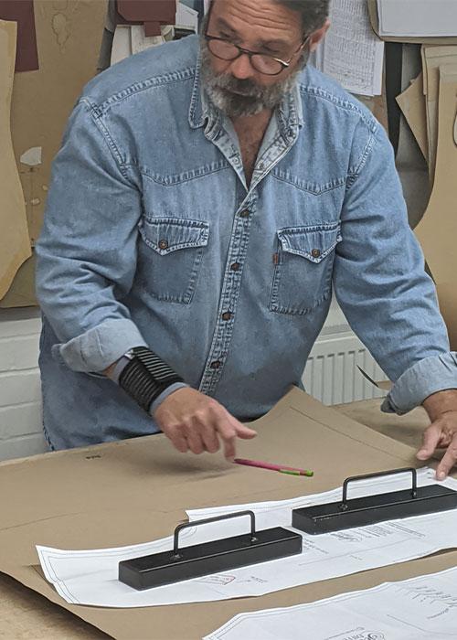 Darren Tiernan cutting covid 19 scrub patterns