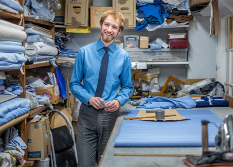 James Macauslan in the bespoke shirt cutting room