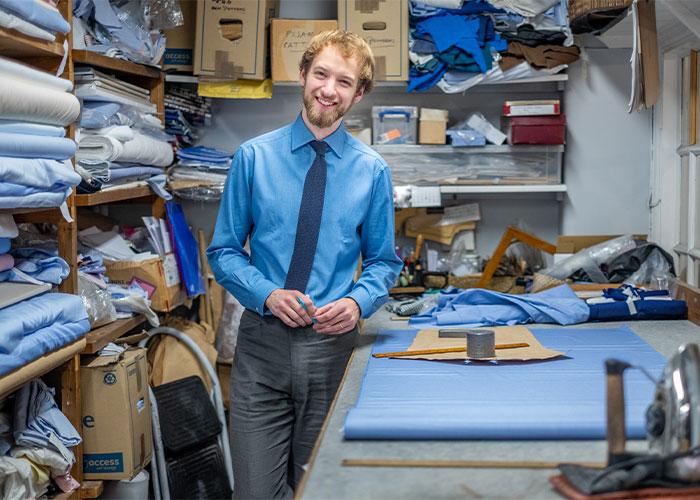 James Macauslan in the bespoke shirt cutting room
