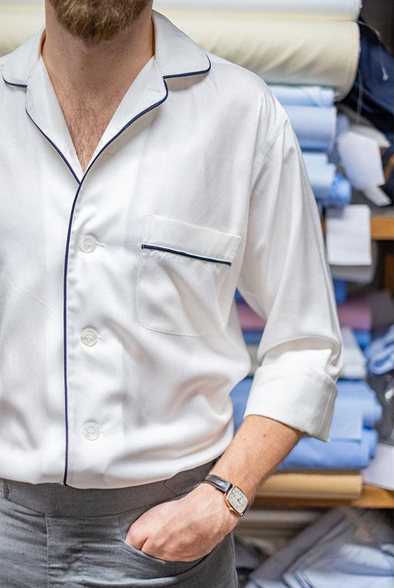 Cream silk pyjama shirt