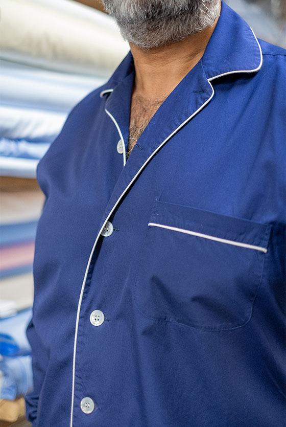 Navy poplin pyjama shirt