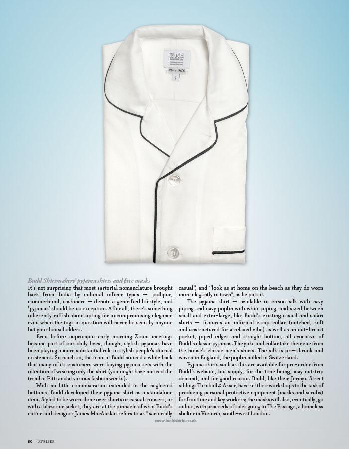 Budd pyjama shirt featured in The Rake magazine