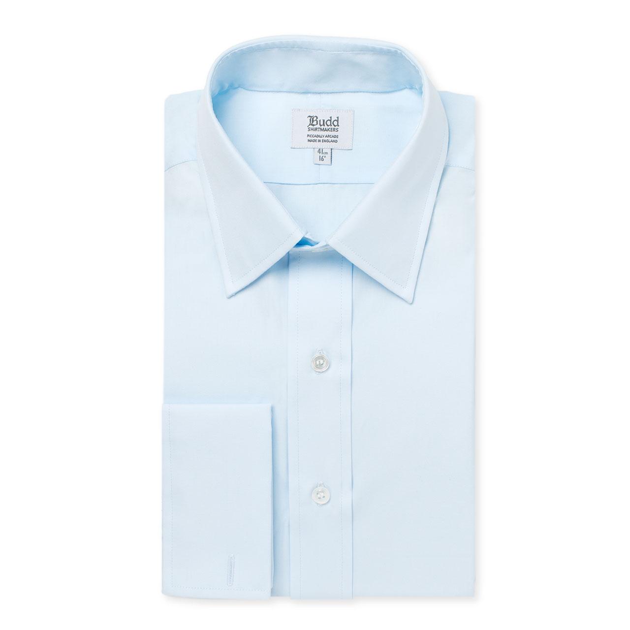 Classic Fit Plain Poplin Double Cuff Shirt in Sky Blue