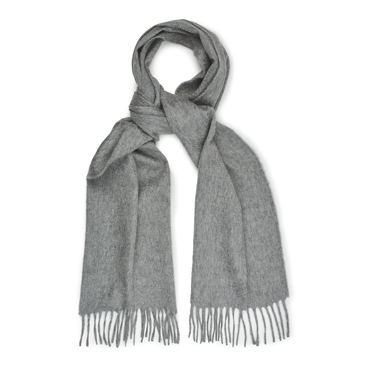 Plain Ripple Cashmere Scarf in Flannel Grey