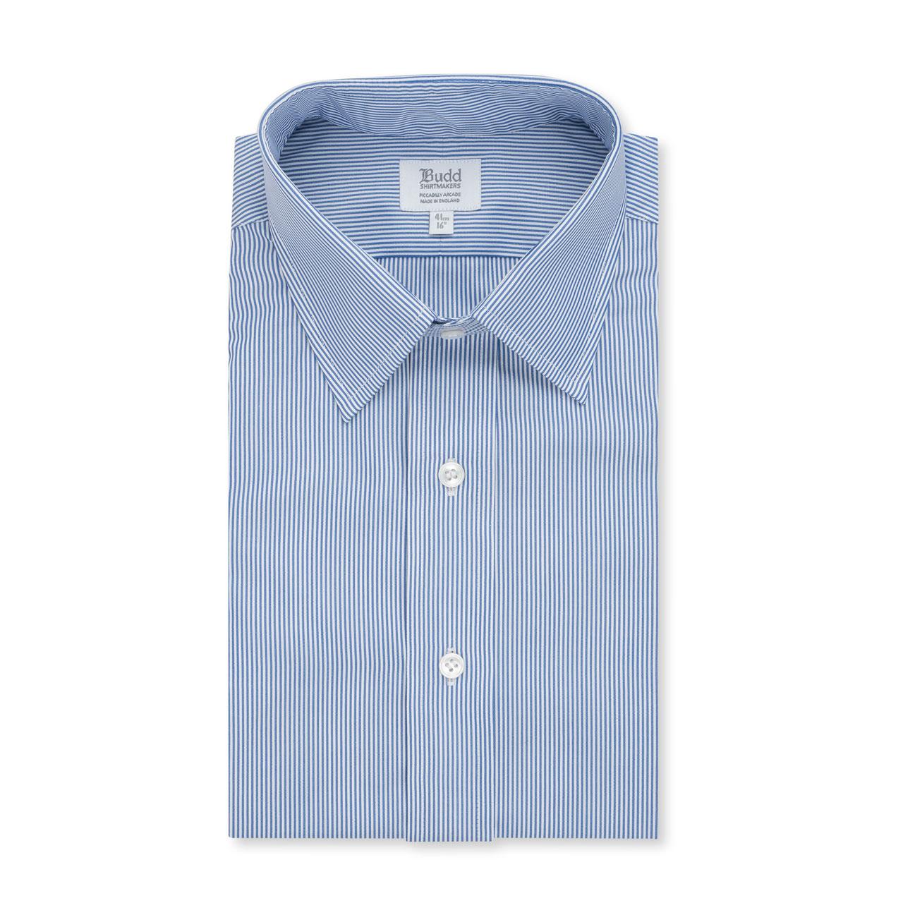 Classic Fit Neat Stripe Poplin Double Cuff Shirt in Navy
