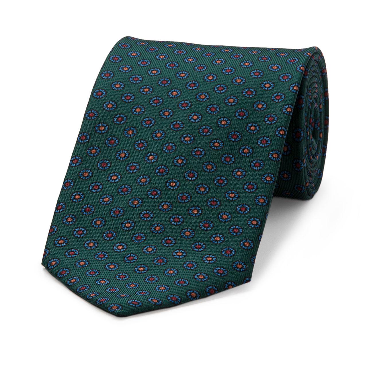 Neat Flower Madder Silk Tie in Green