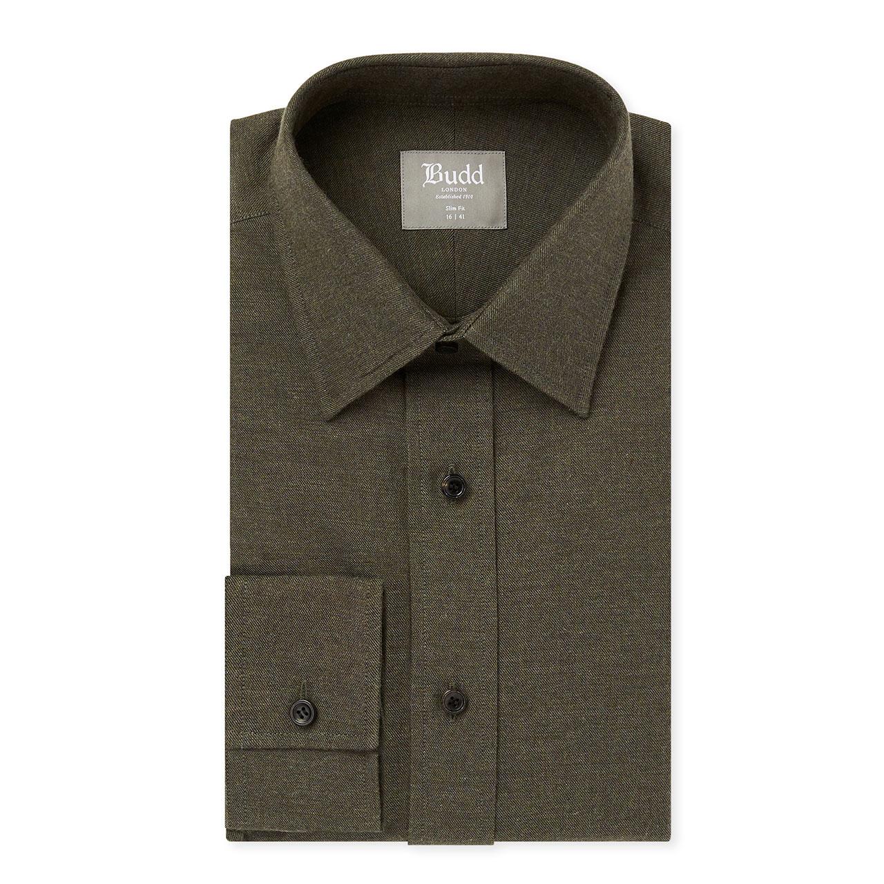 Slim Fit Plain Brushed Cotton Button Cuff Shirt in Khaki