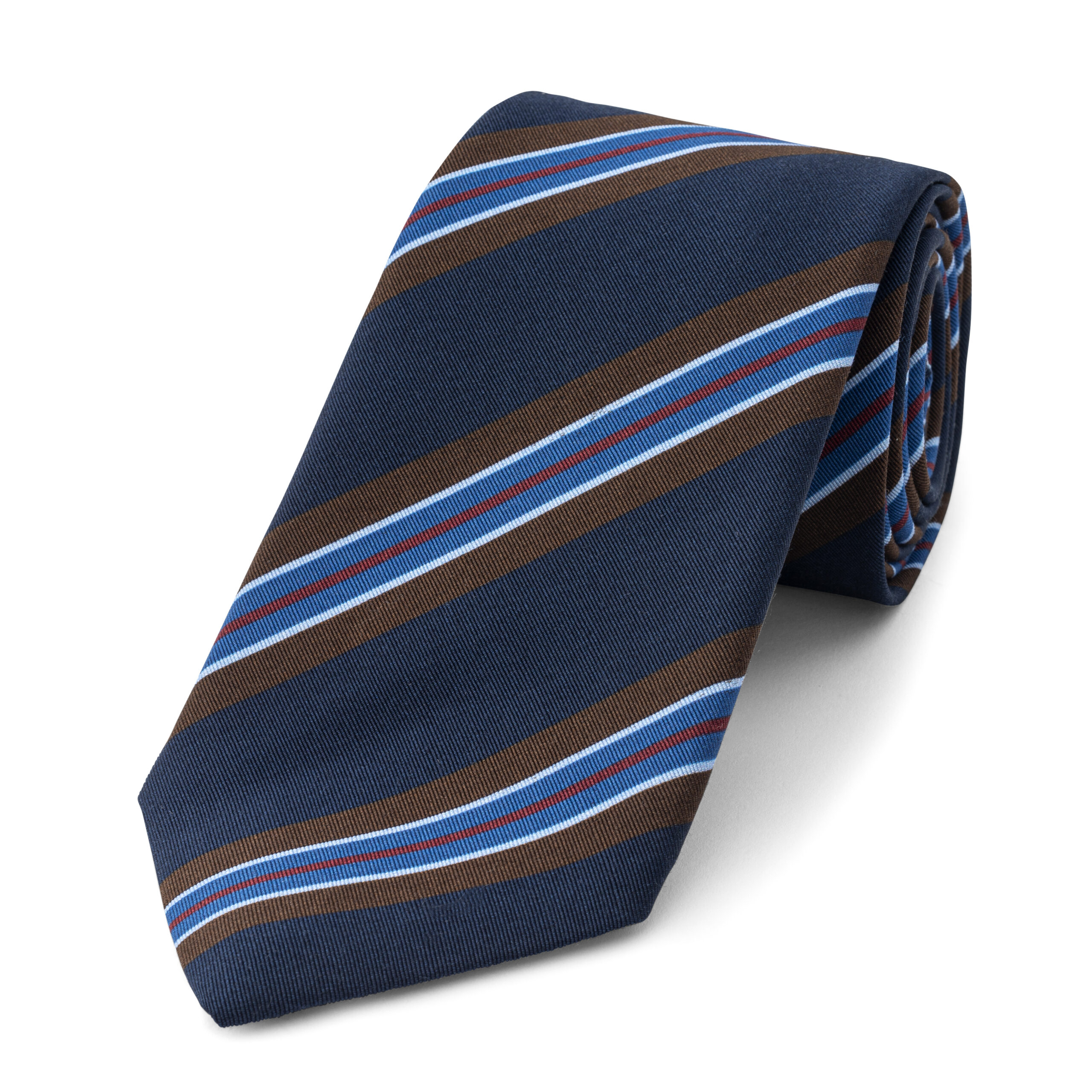 Stripe Irish Poplin Tie in Burgundy, Navy and White