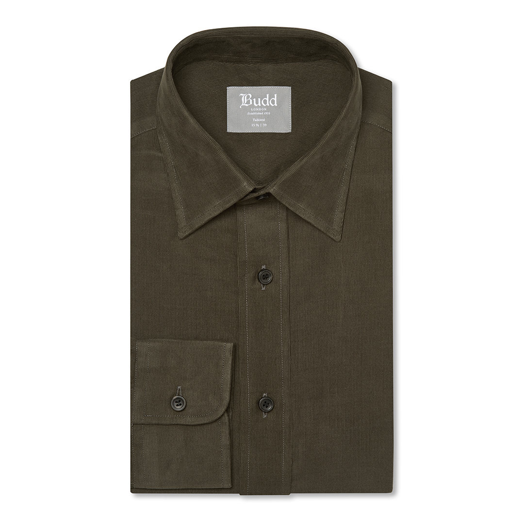 Tailored Fit Plain Fine Corduroy Button Cuff Shirt in Brown
