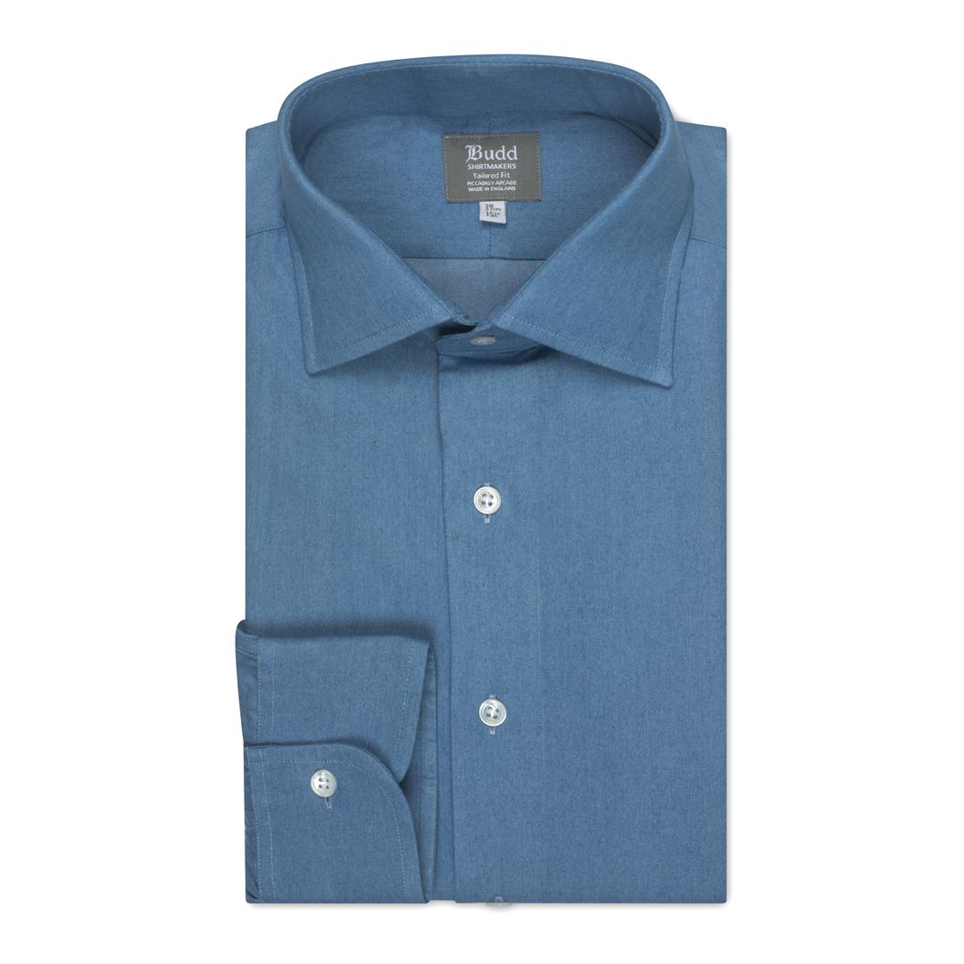 Tailored Fit Plain Denim Button Cuff Shirt in Blue