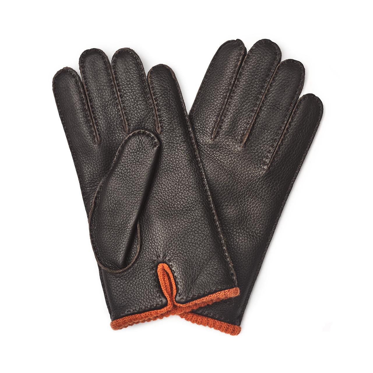 Plain Deer-skin Gloves in Brown