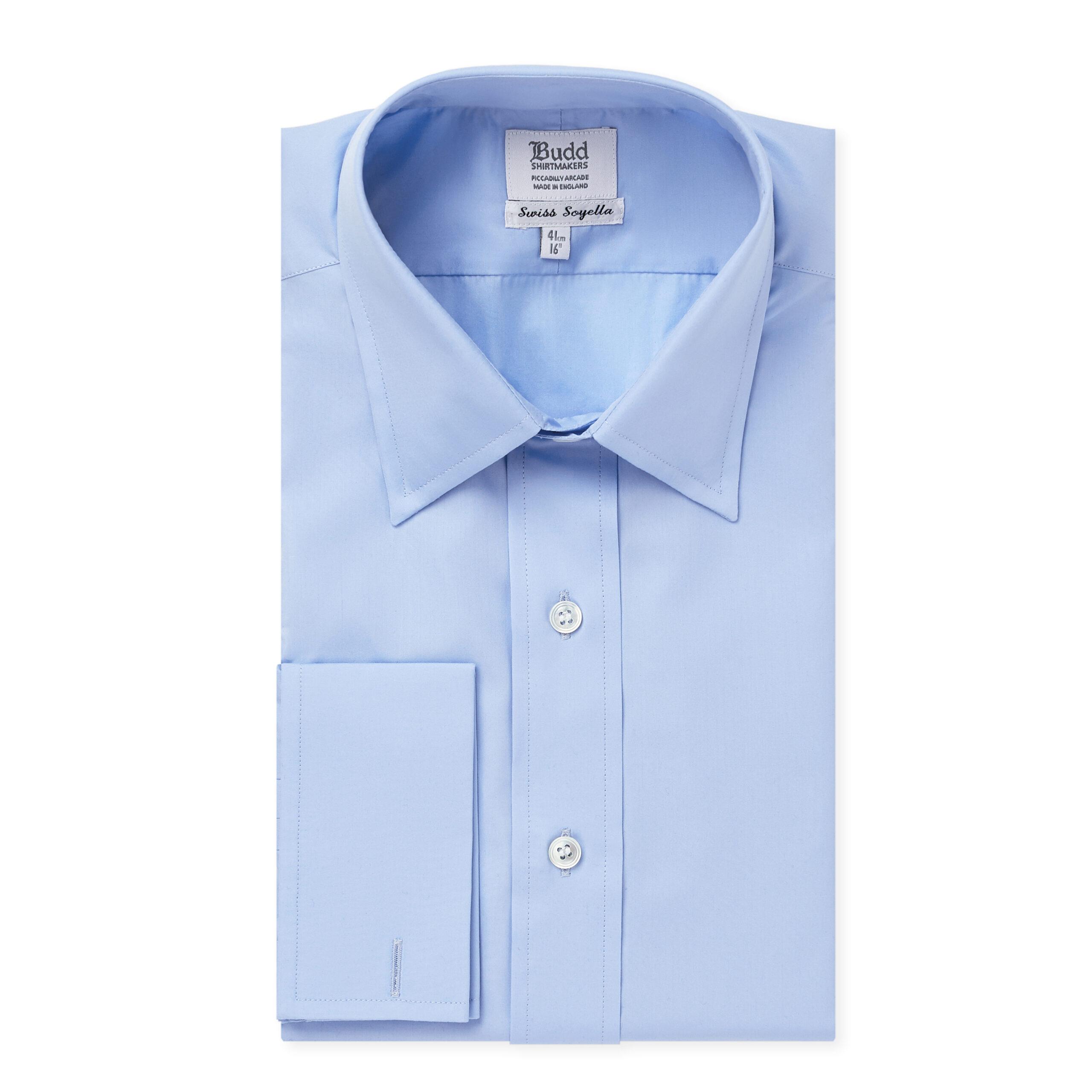 Classic Fit Plain Soyella Double Cuff Shirt in Cornflower