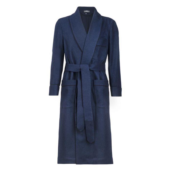 Herringbone Fox Flannel Dressing Gown in Navy