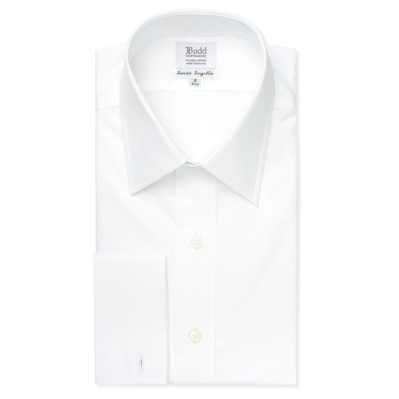 Classic Fit Plain Soyella Double Cuff Shirt in White
